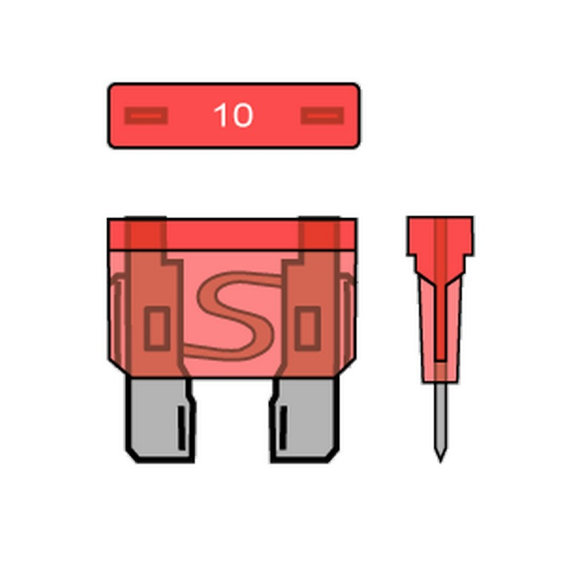 PACK OF 10 STANDARD BLADE FUSES 10A