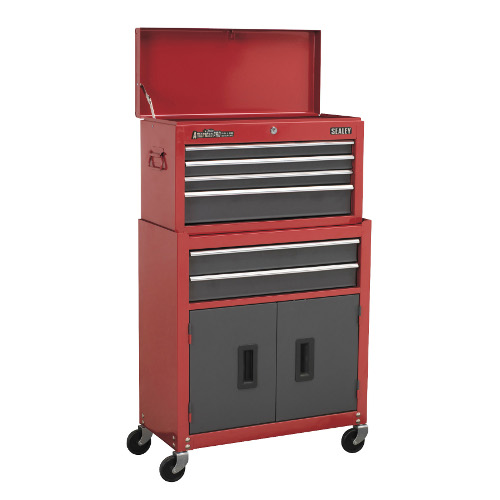 TOPCHEST AND ROLLCAB COMBO - 6 DRAWER - RED/GREY