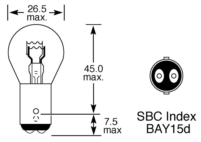 12V 21/5W STOP AND TAIL BULB