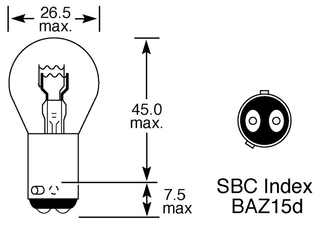 24V 21/4W STOP/TAIL BULB OFFSET PIN
