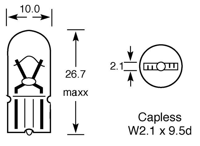 12V 5W AMBER CAPLESS BULB