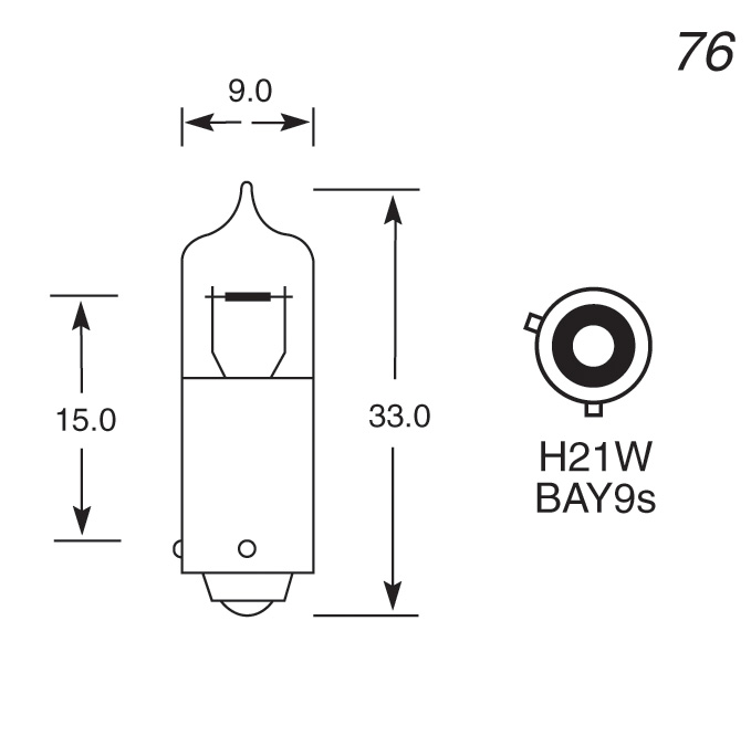24V 21W SINGLE CONTACT HALOGEN BULB OFFSET PIN
