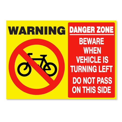 SELF ADHESIVE CYCLIST DANGER ZONE STICKER