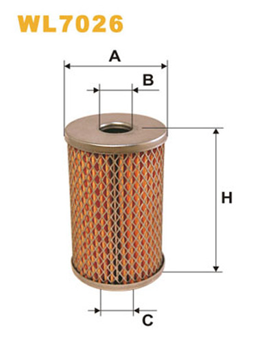 WIX OIL FILTER CARTRIDGE METAL ENDS WL7026