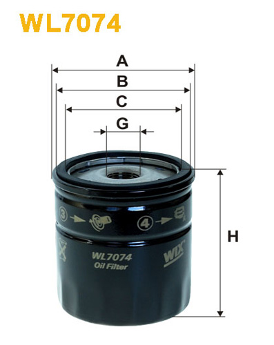 WIX OIL FILTER SPIN-ON WL7074