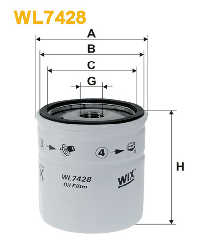 WIX OIL FILTER - SPIN-ON WL7428